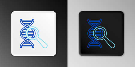 Line DNA research, search icon isolated on grey background. Magnifying glass and dna chain. Genetic engineering, cloning, paternity testing. Colorful outline concept. Vector Vecteurs