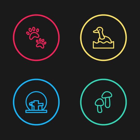 Set line Montreal Biosphere, Mushroom, Flying duck and Paw print icon. Vector Illustration