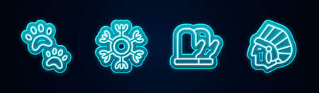 Set line Paw print, Snowflake, Christmas mitten and Native American Indian. Glowing neon icon. Vector Illustration
