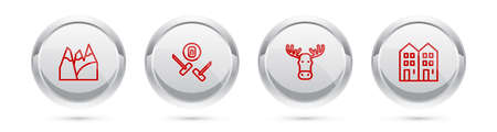 Set line Mountains, Curling sport game, Moose head with horns and House. Silver circle button. Vector