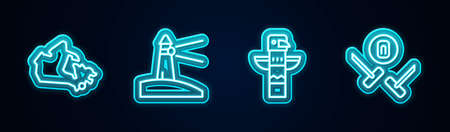 Set line Canada map, Lighthouse, Canadian totem pole and Curling sport game. Glowing neon icon. Vector