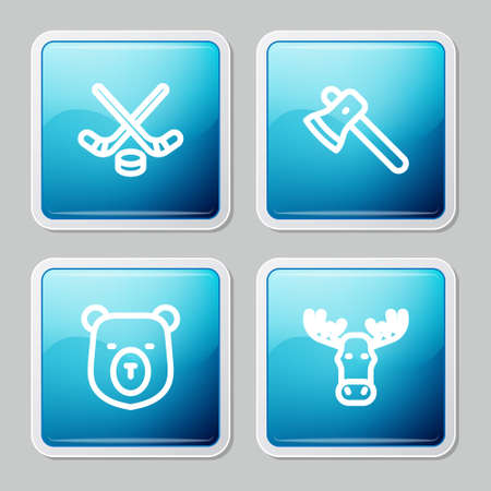 Set line Ice hockey sticks and puck, Wooden axe, Bear head and Moose with horns icon. Vector Illustration
