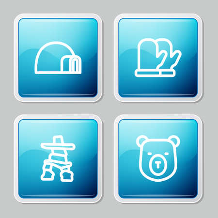 Set line Igloo ice house, Christmas mitten, Inukshuk and Bear head icon. Vector