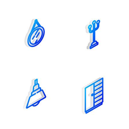 Set Isometric line Coat stand, Mirror, Chandelier and Wardrobe icon. Vector Ilustração