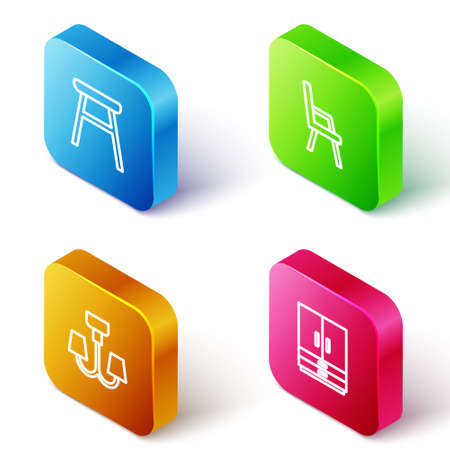 Set Isometric line Chair, Armchair, Chandelier and Wardrobe icon. Vector