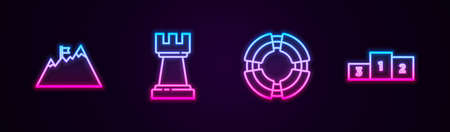 Set line Mountains with flag, Chess, Business lifebuoy and podium. Glowing neon icon. Vector