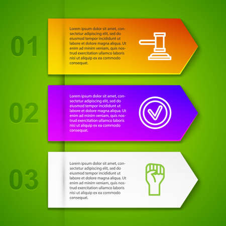 Set line Judge gavel, Check mark in round and Raised hand with clenched fist. Business infographic template. Vector