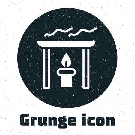 Grunge Aroma candle icon isolated on white background. Monochrome vintage drawing. Vector