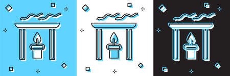 Set Aroma candle icon isolated on blue and white, black background. Vector