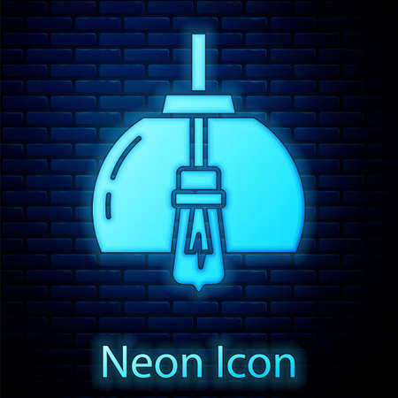 Glowing neon Chandelier icon isolated on brick wall background. Vector