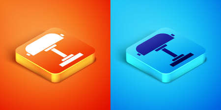 Isometric Table lamp icon isolated on orange and blue background. Desk lamp. Vector