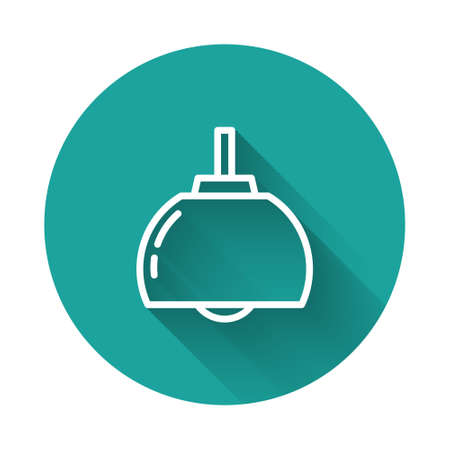 White line Chandelier icon isolated with long shadow background. Green circle button. Vector Ilustração
