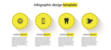 Set Head hunting, Smartphone with contacts, Tooth and Camera film roll cartridge. Business infographic template. Vector