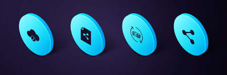 Set Isometric Share, Refund money, file and Music streaming service icon. Vector Ilustración de vector