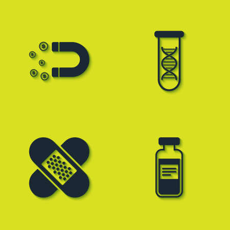 Set Magnet with money, Medical vial, ampoule, Crossed bandage plaster and DNA research, search icon. Vector