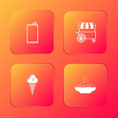 Set Aluminum can, Fast street food cart, Ice cream waffle cone and Nachos plate icon. Vector