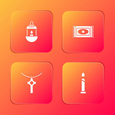Set Ramadan Kareem lantern, Traditional carpet, Christian cross chain and Burning candle icon. Vector Ilustração