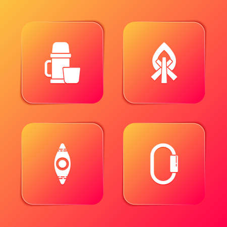 Set bottle container and cup, Campfire, Kayak or canoe and Carabiner icon. Vector