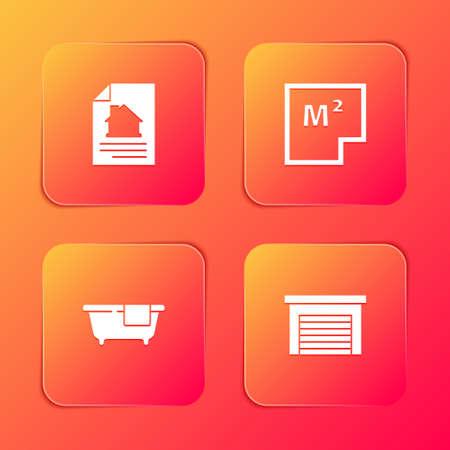 Set House contract, plan, Bathtub and Garage icon. Vector