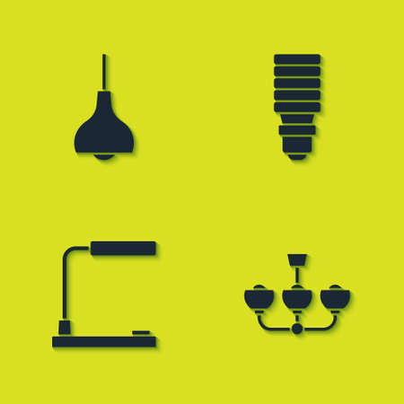 Set Lamp hanging, Chandelier, Table lamp and LED light bulb icon. Vector