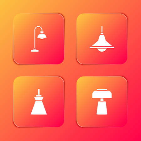 Set Floor lamp, Chandelier, Lamp hanging and Table icon. Vector