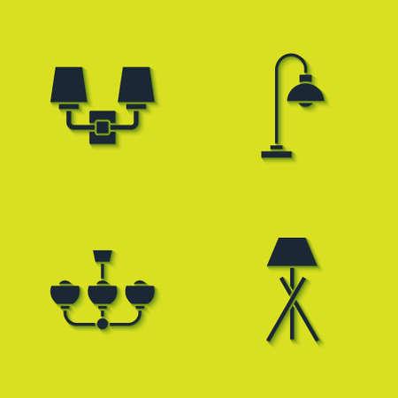 Set Wall lamp or sconce, Floor, Chandelier and icon. Vector Ilustração