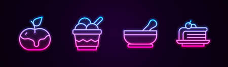 Set line Apple in caramel, Ice cream bowl, Mortar and pestle and Piece of cake. Glowing neon icon. Vector