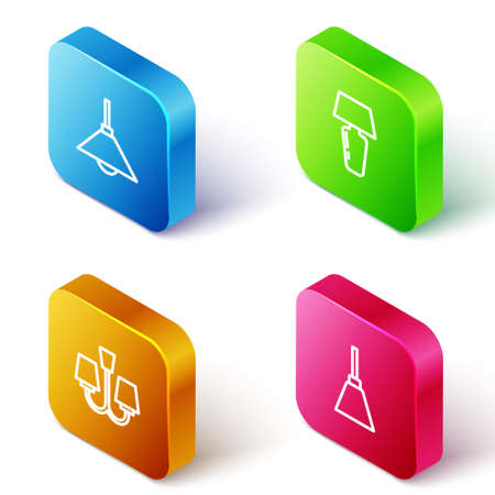 Set Isometric line Lamp hanging, Table lamp, Chandelier and icon. Vector