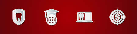 Set Dental protection, Graduation cap globe, Laptop with dental card and Target dollar icon. Vector
