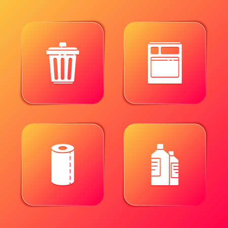 Set Trash can, Kitchen dishwasher machine, Paper towel roll and Bottles for cleaning icon. Vector