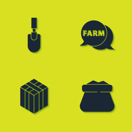 Set Garden trowel spade or shovel, Full sack, Bale of hay and Speech bubble with Farm icon. Vector