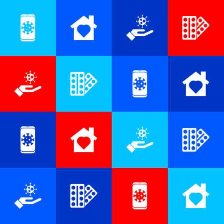 Set Virus statistics on mobile, House with heart inside, Hand virus and Pills blister pack icon. Vector Ilustrace