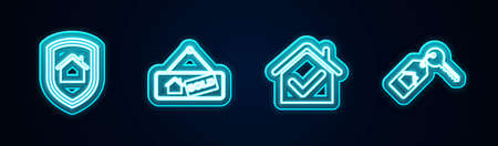 Set line House under protection, Hanging sign with Sold, check mark and key. Glowing neon icon. Vector