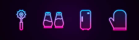 Set line Pizza knife, Salt and pepper, Refrigerator and Oven glove. Glowing neon icon. Vector
