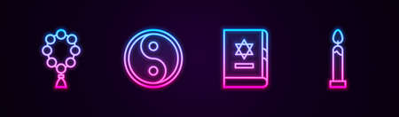 Set line Rosary beads religion, Yin Yang, Jewish torah book and Burning candle. Glowing neon icon. Vector Vektorové ilustrace