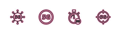 Set line 5G network, Digital speed meter, and icon. Vector