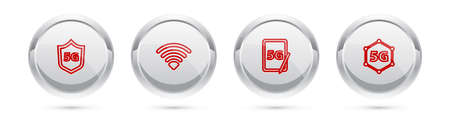 Set line Protective shield 5G, WiFi wireless network, Graphic tablet. Silver circle button. Vector Ilustrace