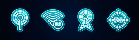 Set line Antenna, 5G network. Glowing neon icon. Vector