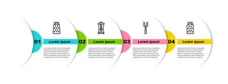Set line Grater, Blender, Barbecue fork. Business infographic template. Vector Ilustrace