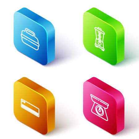 Set Isometric line Cooking pot, Blender, Air conditioner and Scales icon. Vector