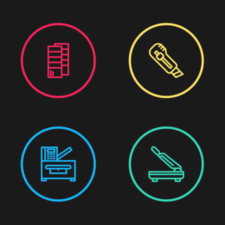 Set line Copy machine, Paper cutter, Stationery knife  icon. Vector