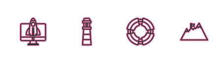 Set line Startup project concept, Business lifebuoy, Lighthouse and Mountains with flag icon. Vector
