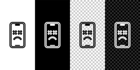 Set line Dead mobile icon isolated on black and white, transparent background. Deceased digital device emoji symbol. Corpse smartphone showing facial emotion. Vector