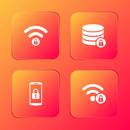 Set Wifi locked, Server security with, Smartphone and icon. Vector