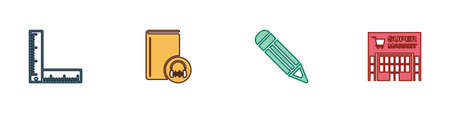 Set Folding ruler, Audio book, Pencil and Supermarket building icon. Vector Vektorgrafik