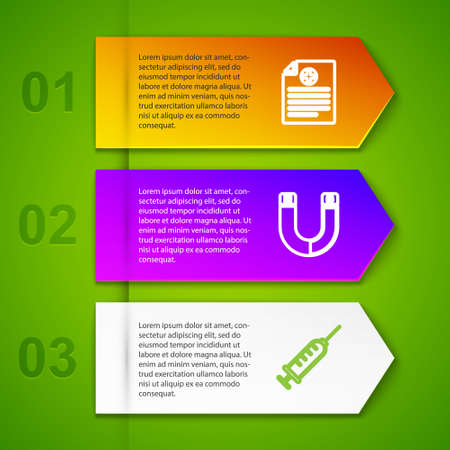Set line Clinical record, Magnet, Syringe and Genetic engineering. Business infographic template. Vector