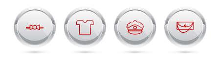 Set line Bow tie, T-shirt, Police cap with cockade and Clutch bag. Silver circle button. Vector Ilustración de vector