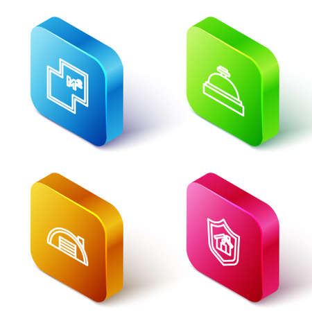 Set Isometric line House plan, Hotel service bell, Warehouse and with shield icon. Vector