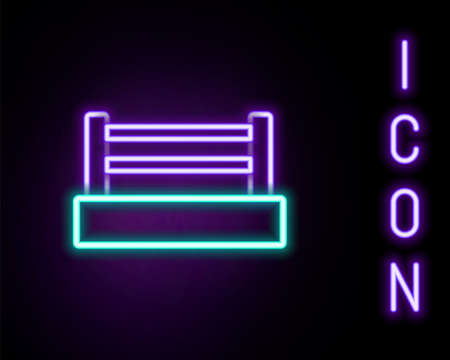 Glowing neon line Boxing ring icon isolated on black background. Colorful outline concept. Vector