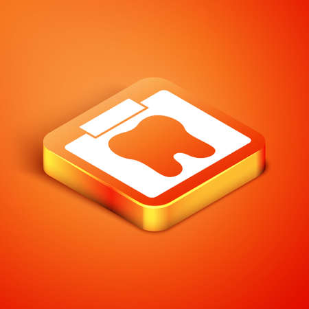 Isometric X-ray of tooth icon isolated on orange background. Dental x-ray. Radiology image. Vector